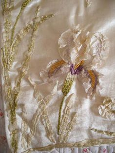 ANTIQUE SILK RIBBONWORK EMBROIDERY ~ iris flowers Oh my goodness...this is beautiful.
