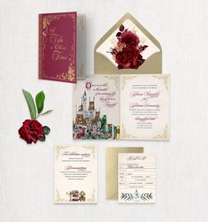 This enchanted invitation is a folded card with a whimsical design telling the tale of a beautiful romance. The envelope is lined with more of the famous tale. The envelope, rsvp, and details card are flat printed on white high-quality paper stocks which adds another dimension of luxury. Choose only the options you want to make it a custom package. Beauty And The Beast Wedding Invitations, Fairytale Wedding Invitations, Bridal Shower Invitations, Wedding Stationery, Destination Wedding Save The Dates, Destination Wedding Inspiration, Invitation Set, Invitation Design, Tale As Old As Time