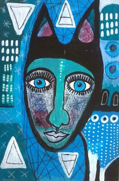 SHIFT 2 by Tracy Algar- limited edition giclee art print - primitive art - outsider art - art brut - intuitive art - contemporary folk art - mixed media - pinned by pin4etsy.com