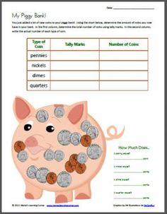My Piggy Bank --> Tally Mark Worksheet Using Coins