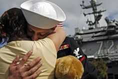 Husband and Wife- Returning home to San Diego from deployment aboard the Nimitz.