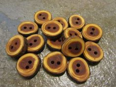 15 Yew Wood Tree Branch Buttons. Just Under 1 by PymatuningCrafts, $9.00