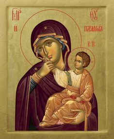 Byzantine icon of Virgin Mary Theotokos of Consolation - Handmade sacred art with gold leaves Byzantine Icons, Byzantine Art, Religious Icons, Religious Art, Writing Icon, Best Icons, Madonna And Child, Art Icon, Orthodox Icons