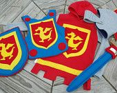 Knight Costume Gift Set - PRIMARY Colors - Super Cape - Super Hero Costume - Halloween Costume - Halloween Costume - Kid Costume
