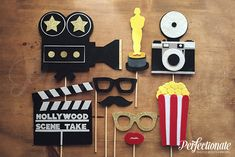 Hollywood Party Props, Old Hollywood Photo Props, Movie Camera Photo Prop CURRENT WAIT TIME ----------------------------- 10 business days + shipping time PLEASE INCLUDE YOUR EVENT DATE AS A NOTE DURING CHECKOUT Set of 9 Hollywood Props! Each prop is hand-made from several layers and