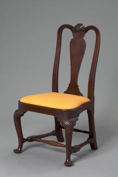 Probably Boston, Massachusetts   Side Chair, 1750–65  Black walnut, southern yellow pine, modern wool (worsted) damask upholstery  39 1/2 x 22 1/4 x 16 7/8 in. (100.33 x 56.52 x 42.86 cm) seat: 16 1/2 in. (41.91 cm)  Layton Art Collection, Purchase L1986.1   Photo credit John R. Glembin