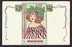 CARL-JOZSA-ARTIST-SIGNED-POSTCARD-ART-NOUVEAU-GLAMOUR-GIRL-UNDIVIDED-BACK-c1902