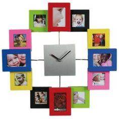 Reloj de Pared de Aluminio y Colores con 12 Porta Fotos