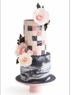 geometric and marbled fondant cake