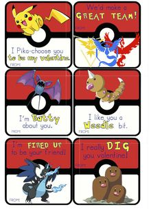 Pokemon Valentines Cards, classroom valentine cards