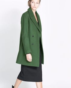 ZARA WOMAN GREEN WOOL BUTTONED COAT SIZE XS EXCELLENT CONDITION SOLD OUT | eBay