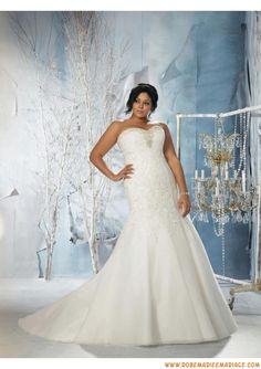 Robe de mariée grande taille satin dentelle perles