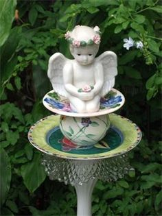 Tea Party Garden Totem Stake : Doesn't this just make you think of having a tea party?  Sits on copper or rebar pole.