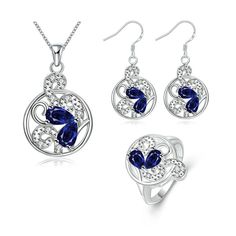 Women's Silver Plated Jewelry Sets Ring Size 8 Earrings CZ Crystal Elements Crystal
