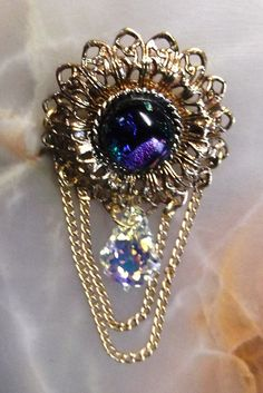 "2.25"" Brass, Dichroic Glass & Swarovski Baroque Crystal Brooch ~ FREE USA Shipping!    SOLD!"