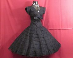 1950's Bombshell Tiered Black Chantilly Lace Circle Skirt Gown
