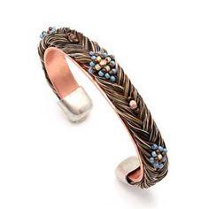 Beaded Braided Horse Hair Copper Bracelet