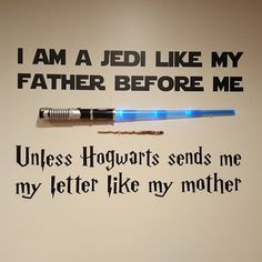 Vinyl Wall Decal Jedi like my Father Unless Hogwarts sends me a letter... (€34) ❤ liked on Polyvore featuring home, home decor, wall art, word wall decals, typography wall art, vinyl lettering wall art, star wars wall decals and vinyl decal sticker