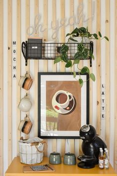 after shot diy coffee station with stoneware cups on hooks and storage basket with neutral coffee cup wall art and basket shelf Diy Projects On A Budget, Diy Craft Projects, Basket Shelves, Storage Baskets, Home Command Center, Pretty Mugs, Coffee Cup, Home Decor Inspiration, Interior Styling