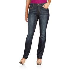 Faded Glory Women's Core Straight Leg Jeans, Size: 6P