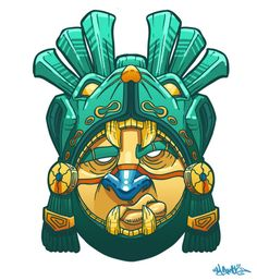 Mayan Warrior Mask by MarcosMachina. on - Graffiti Mayan Mask, Mayan Tattoos, Tiki Totem, Aztec Warrior, Tiki Art, Graffiti Characters, Aztec Art, Mexican Art, Ancient Art