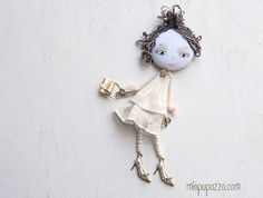 Spring Girl Art Doll Brooch Girl mixed media collage by miopupazzo