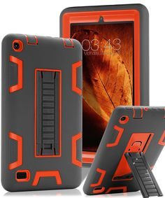 """TOPSKY Fire 7"""" (2015 release) Case,[Kickstand Feature],Shock-Absorption / High Impact Resistant Heavy Duty Armor Defender Case For Amazon Fire 7 Inch Tablet,with Stylus, Grey / Orange"""