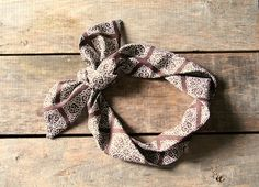 brown and white headscarf  / tie up by SassyStitchesbyLori on Etsy, $12.00