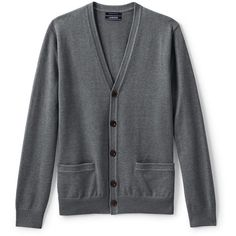 Lands' End Men's Classic Fit Supima Cotton Cardigan Sweater ($70) ❤ liked on Polyvore featuring men's fashion, men's clothing, men's sweaters, grey, mens grey cardigan sweater, mens lightweight sweaters, mens cotton cardigan sweaters, lands end mens sweaters and mens sweaters