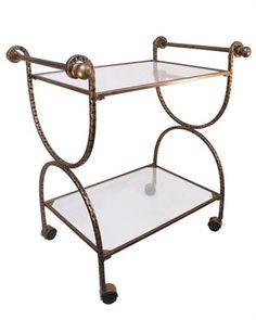 Hammered Gold Bar Cart