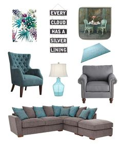 """""""Teal & Grey living"""" by cys61577 ❤ liked on Polyvore featuring interior, interiors, interior design, home, home decor, interior decorating, Rica, Green Leaf Art, Silver Lining and Pier 1 Imports"""
