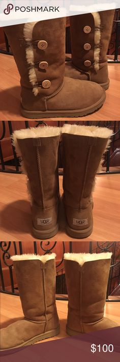 Kids Bailey Button UGG Boots Chestnut colored, amazing condition, smells good and has no stains. UGG Shoes Boots