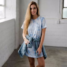 Chambray Tie-Dye T-Shirt Dress