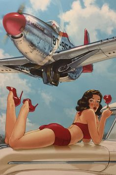 Collection of Aviation Pin Up and Nose Art copyrights belong to their respective owners. Nose Art, Fotos Pin Up, Dibujos Pin Up, Pin Up Pictures, Pin Up Drawings, Pin Up Girl Vintage, Pin Up Posters, Airplane Art, Fighter Aircraft