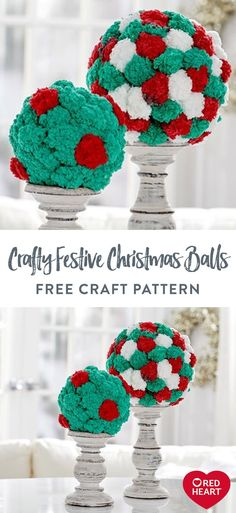 Crafty Festive Christmas Balls free craft pattern in Red Heart Pomp-a-Doodle yarn. Create plush craft balls covered with pompoms without making the pompoms! Pomp-a-Doodle yarn is created with soft pompoms along a cord so that wrapping and gluing to the ball foam shapes is easy! Use them in bowls or hang on the tree. We placed them on candlesticks for a mantel or table decoration. Craft Patterns, Knit Patterns, Christmas Balls, Christmas Time, Plush Craft, Foam Shapes, Soft Blankets, Candlesticks, Free Crochet