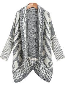 Black White Vintage Geometric Knit Cardigan