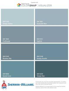 Pale Dusty Blues - Front Door Options - Sherwin-Williams The top one sleepy hollow❤ Blue Gray Paint Colors, Pale Blue Walls, Pale Blue Paints, Interior Paint Colors For Living Room, Paint Colors For Home, Room Paint, Paint Bathroom, Paint For Walls, Room Colors