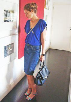 look do dia: blusa Kenzo saia jeans Carolina Herrera sandália vintage Francesca Giobbi bolsa Celine 1