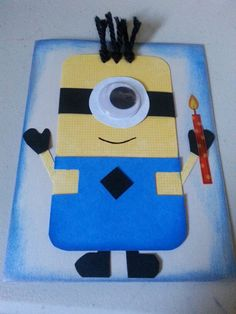 Cute Minion birthday card. This is perfect for my friend Serena she loves minions and had a recent b-day!