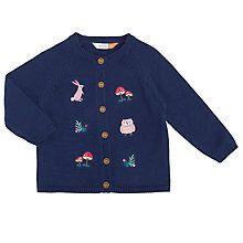Buy John Lewis Baby Embroidered Woodland Cardigan, Navy Online at johnlewis.com