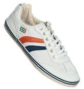 TST Futsal White, Navy and Orange Leather Trainers White perforated leather with 2 stripes on each side in orange and navy. Natural gum sole, white gum sole surround with 2 navy lines and white laces. TST Logo to the tongue and side. http://www.comparestoreprices.co.uk/mens-clothes/tst-futsal-white-navy-and-orange-leather-trainers.asp