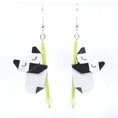 Boucles d'oreilles pandas endormis en origamis