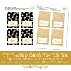 Black Gold Glitter Printable Party Food Tents - Folding Editable Buffet Labels Place Cards - New Years, Birthday, Baby Bridal Shower Wedding - SprinkledDesigns.com