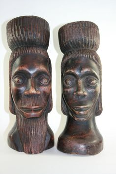 Jamaican Wood Statue Set Peter Nish by YourCozyVintageHome on Etsy