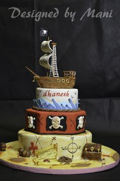 tiered pirate cake!- LOVE the bottom map layer