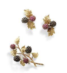 A brooch and earclip suite, by Buccellati, (2)