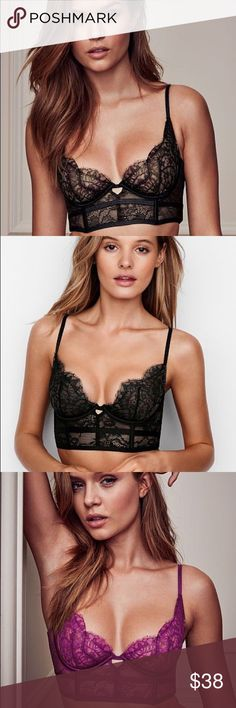 Very sexy Victoria secret lace mini bustier Very sexy unlined Demi buste , size 34B in BLACK. Sold out in stores and online, never worn. Victoria's Secret Intimates & Sleepwear Bras