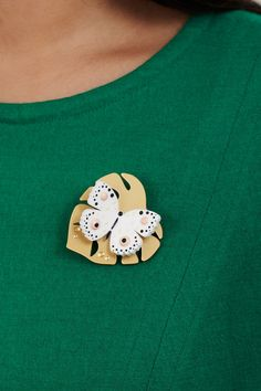 Hot House Butterfly Brooch - white  (£40.00)