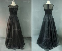 black prom dress long prom dress lace prom dress cap by fitdesign, $189.00