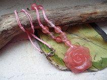 Kirschquarz, Rose, Anhänger, Halskette